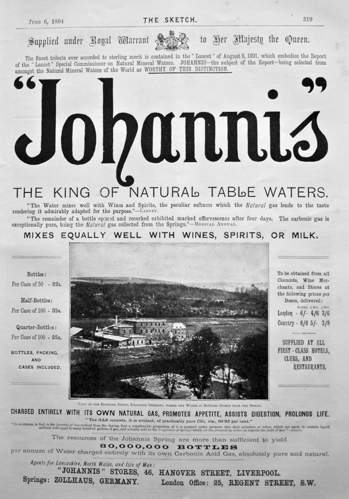 """Johannis"". The King of Natural Table Waters. 1894."