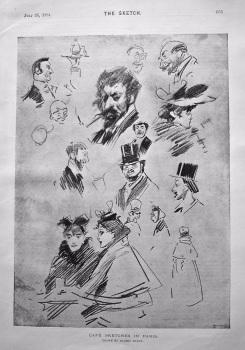 Cafe Sketches in Paris. 1894.