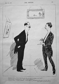 "Facetious Gent. : ""You've heard the royal baby ain't got all his fingers on one hand ?"" (Drawing) 1894."
