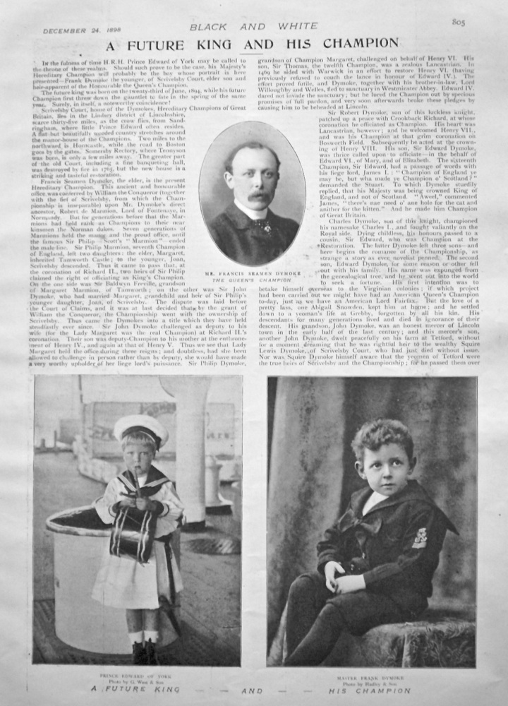 A Future King and His Champion. 1898.