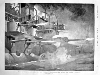 "The ""Brennus,"" Flagship of the French Mediterranean Fleet, at Target Practice. 1898."