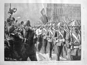 The Return of the Warriors, 1898 - The Guards Passing the Houses of Parliament.