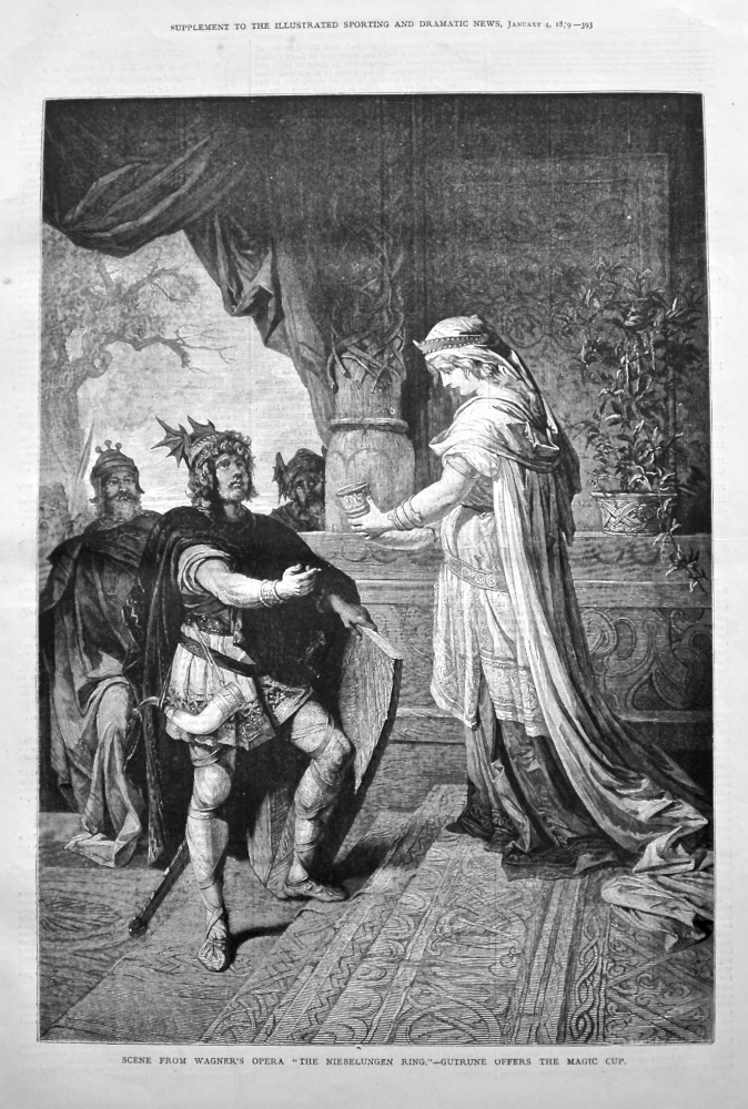 """Scene from Wagner's Opera """"The Niebelungen Ring."""" - Gutrune offers the Magic Cup."""