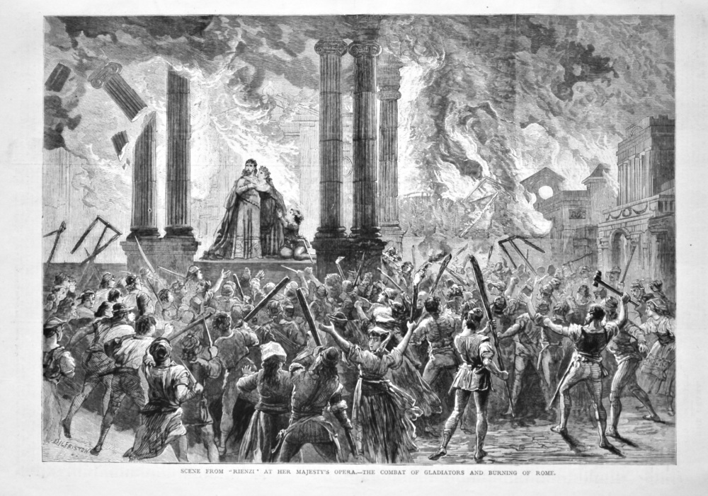 """Scene from """"Rienzi"""" at Her Majesty's Opera.- The Combat of Gladiators and Burning of Rome. 1879."""