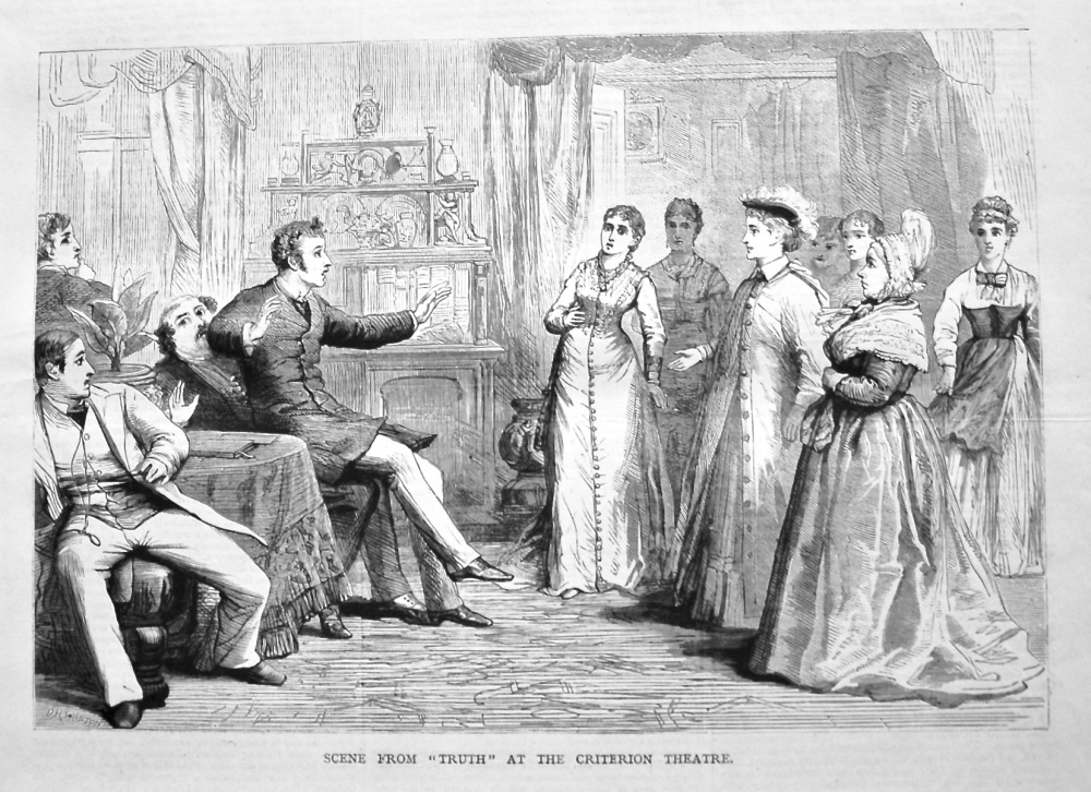 """Scene from """"Truth"""" at the Criterion Theatre. 1879."""
