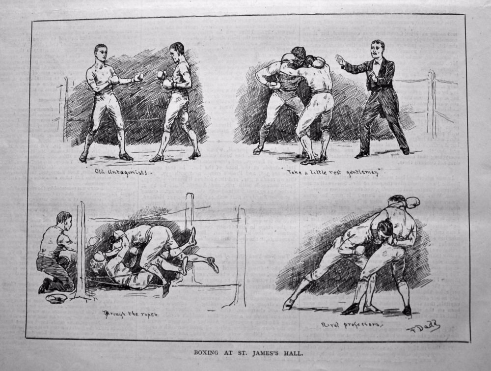 Boxing at St. James's Hall. 1879.