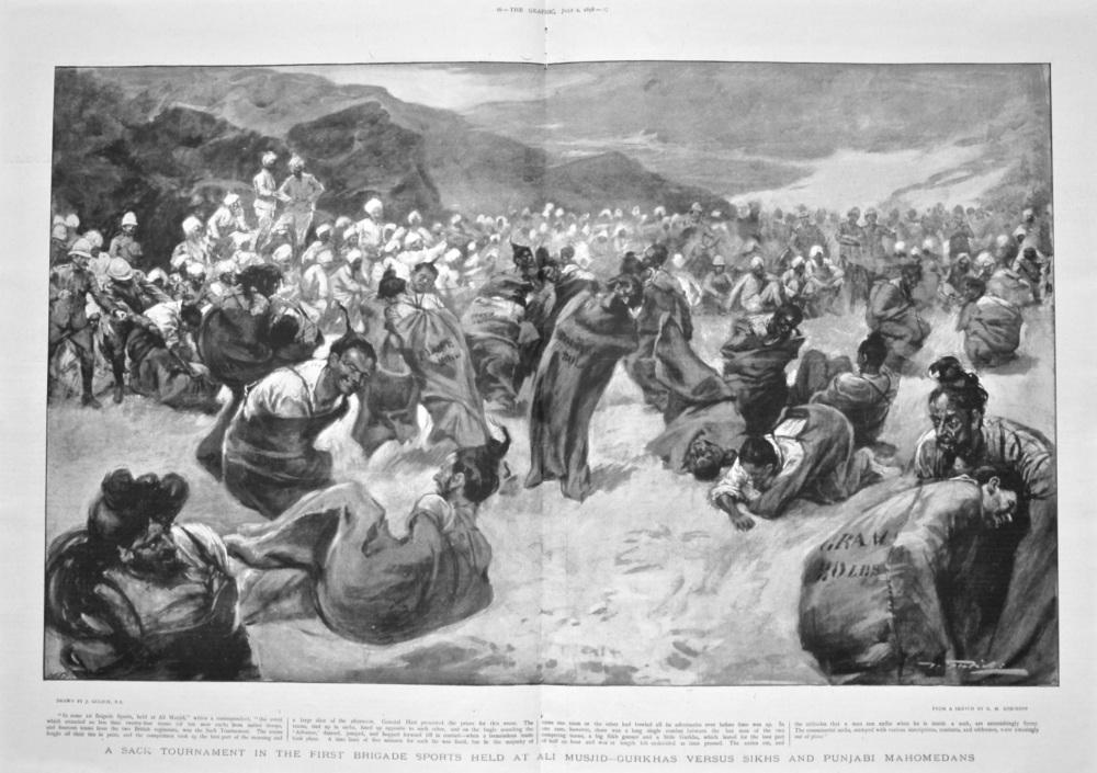 A Sack Tournament in the First Brigade Sports held at Ali Musjid : Gurkhas versus Sikhs and Punjabi Mahomedans. 1898.