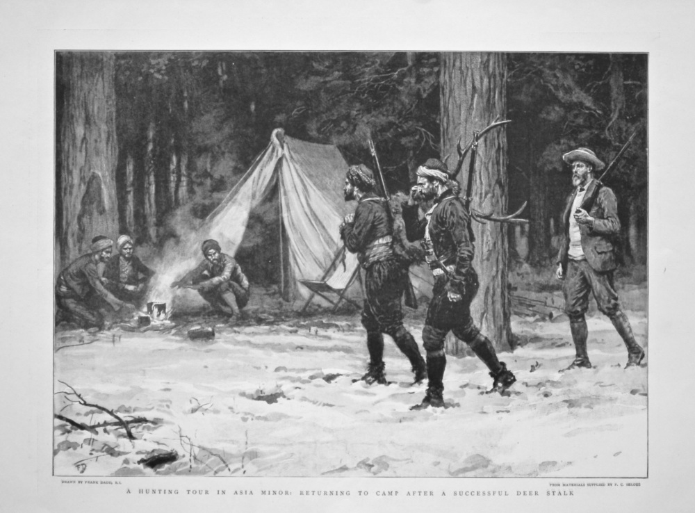 A Hunting Tour in Asia Minor : Returning to Camp after a Successful Deer Stalk. 1898.