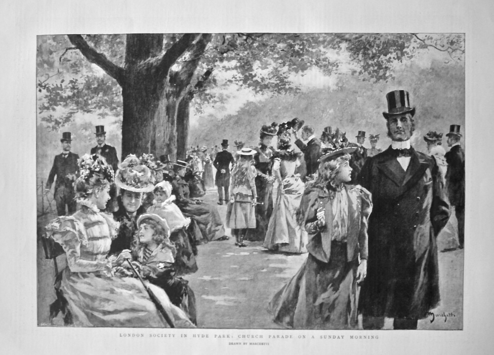 London Society in Hyde Park : Church Parade on a Sunday Morning. 1898.