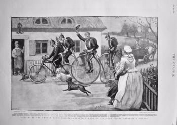 Bicycles in the German Army : Soldiers Returning Home on Furlough Riding through a Village. 1898.