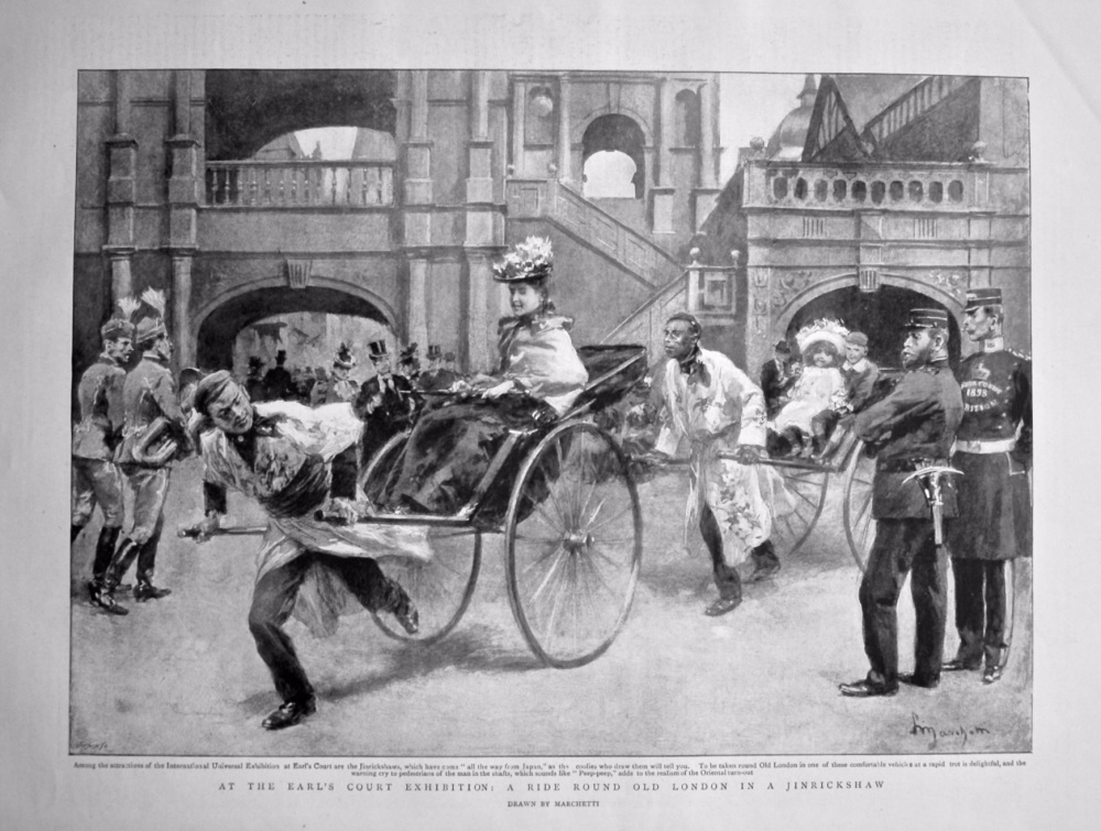 At the Earl's Court Exhibition : A Ride Round Old London in a Jinrickshaw. 1898.