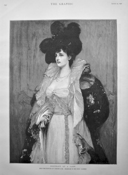 Portrait of a Lady. (From the painting by Richard Jack. Exhibited in the Royal Academy). 1898.