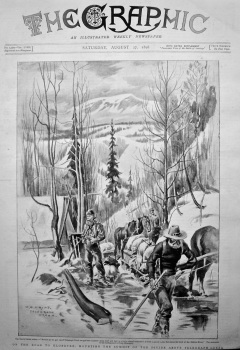 On the Road to Klondyke : Mounting the Summit of the Divide above Telegraph Creek. 1898.