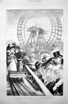 At the International Exhibition at Earl's Court.  How to Enjoy a Breeze on a Hot day : A Journey on the Switchback Railway. 1898.