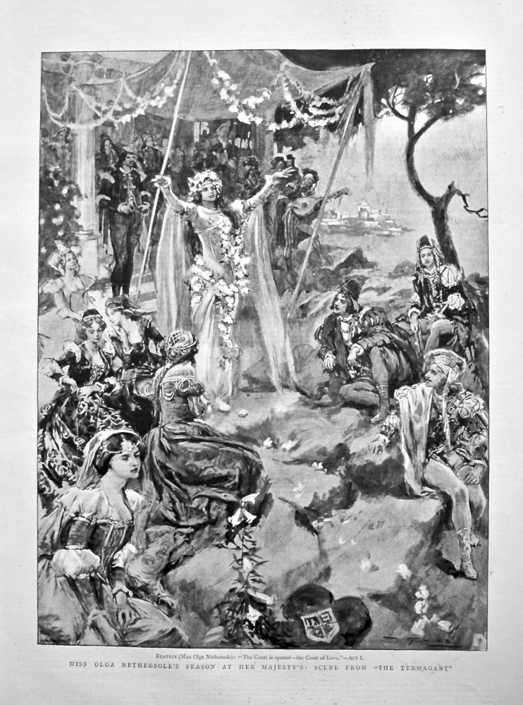 """Miss Olga Nethersole's Season at Her Majesty's : Scene from """"The Termagant"""". 1898."""
