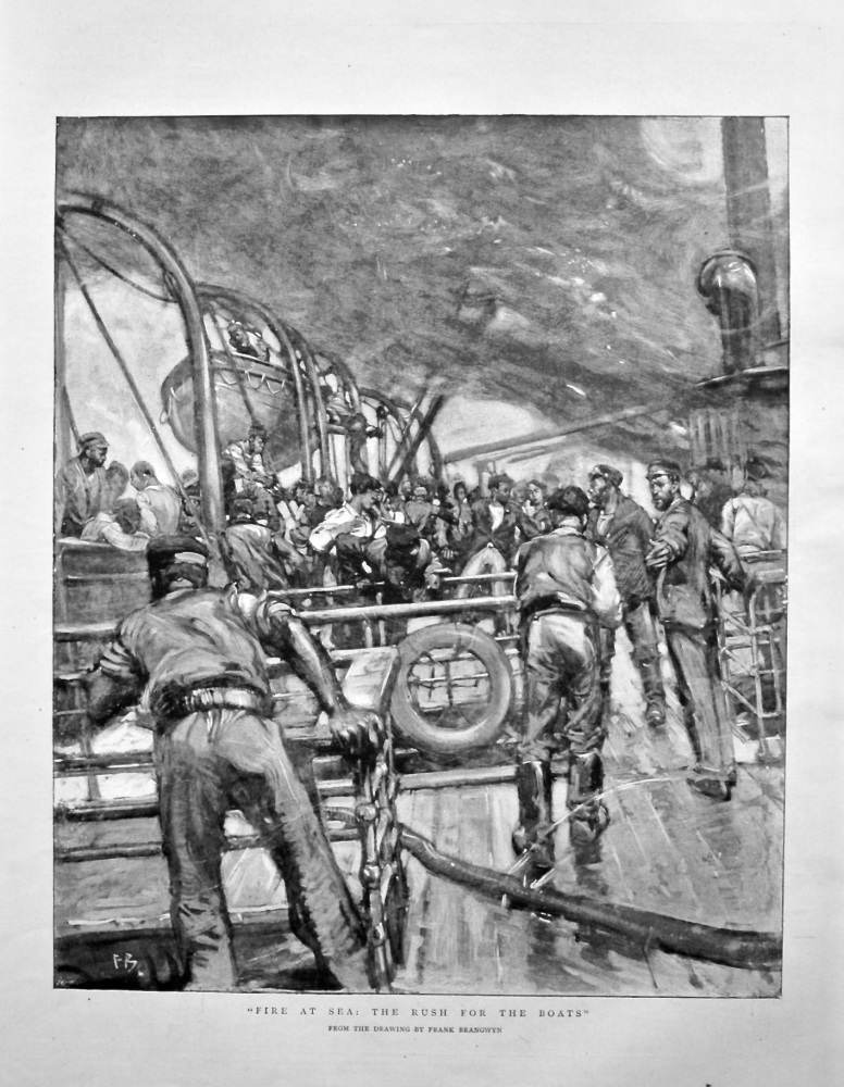 """""""Fire at Sea : The Rush for the Boats"""". 1898."""