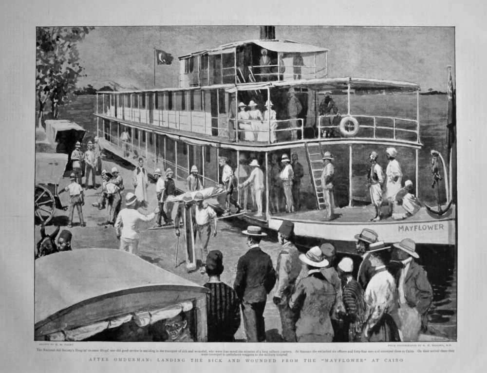 "After Omdurman : Landing the Sick and Wounded from the ""Mayflower"" at Cairo. 1898."