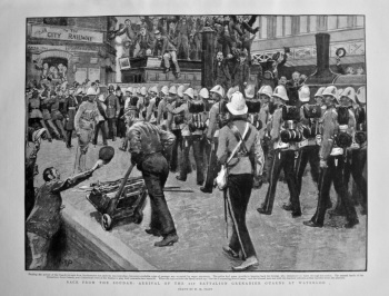 Back from the Soudan : Arrival of the 1st Battalion Grenadier Guards at Waterloo. 1898.