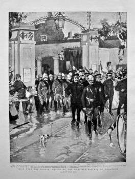 Back from the Soudan :  Welcoming the Howitzer Battery at Woolwich. 1898.