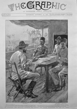 """At Fashoda : The Meeting between the Sirdar and Major Marchand on the S.S. """"Dal"""". 1898."""