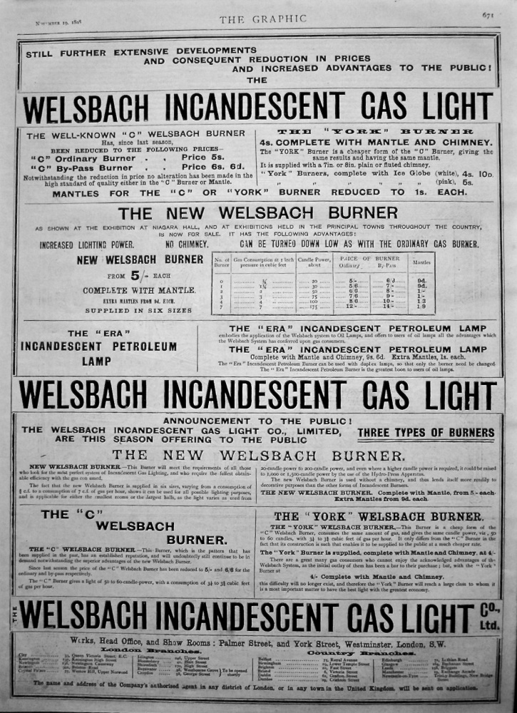 Welsbach Incandescent Gas Light. 1898.