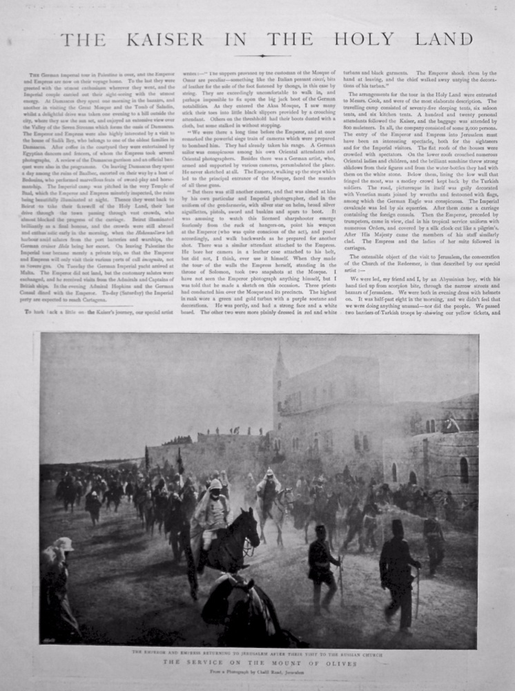 The Graphic, November 19th, 1898.  (Supplement)  :  The Kaiser in the Holy Land.
