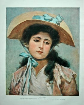 """Phyllis"" (From the painting by Edith Scannell. Exhibited in the Royal Institute of painters in Oil Colours). 1898."