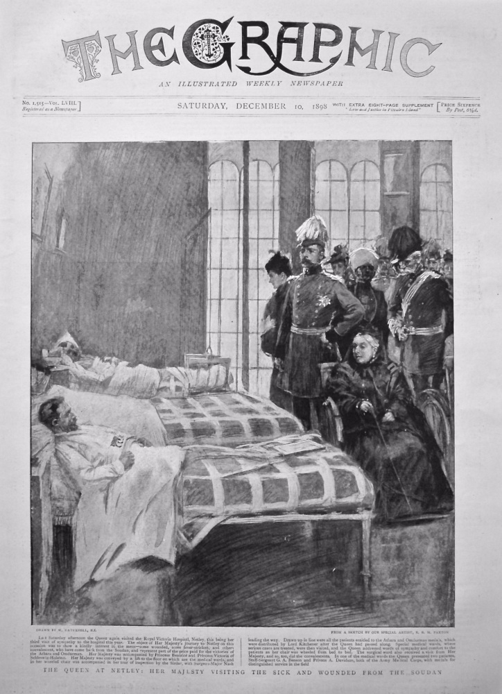 The Queen at Netley : Her Majesty visiting the Sick and Wounded from the Sudan. 1898.