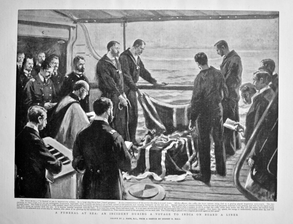A Funeral at Sea : An Incident during a Voyage to India on Board a Liner. 1898.