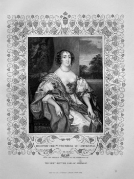 Dorothy Percy, Countess of Leicester. OB. 1659.  From the original of Vandyke in the collection of The Right Hon. the Earl of Egremont.
