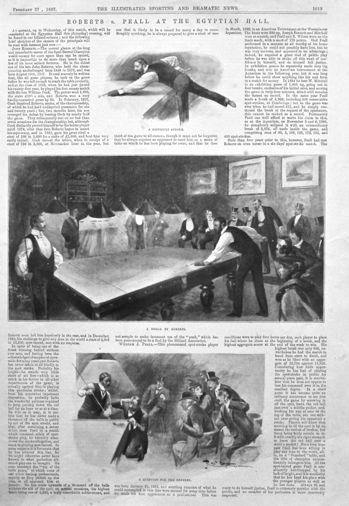 Roberts v. Peall at the Egyptian Hall.  (Billiards). 1897.