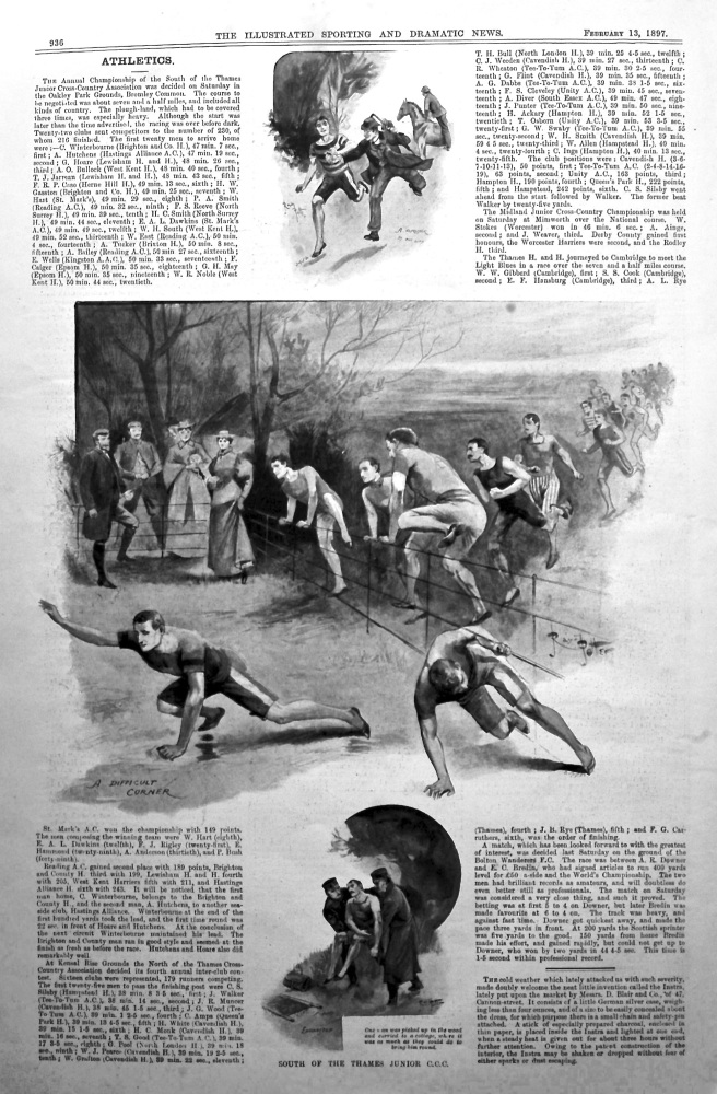 South of the Thames Junior Cross-Country Championship. (Athletics). 1897.