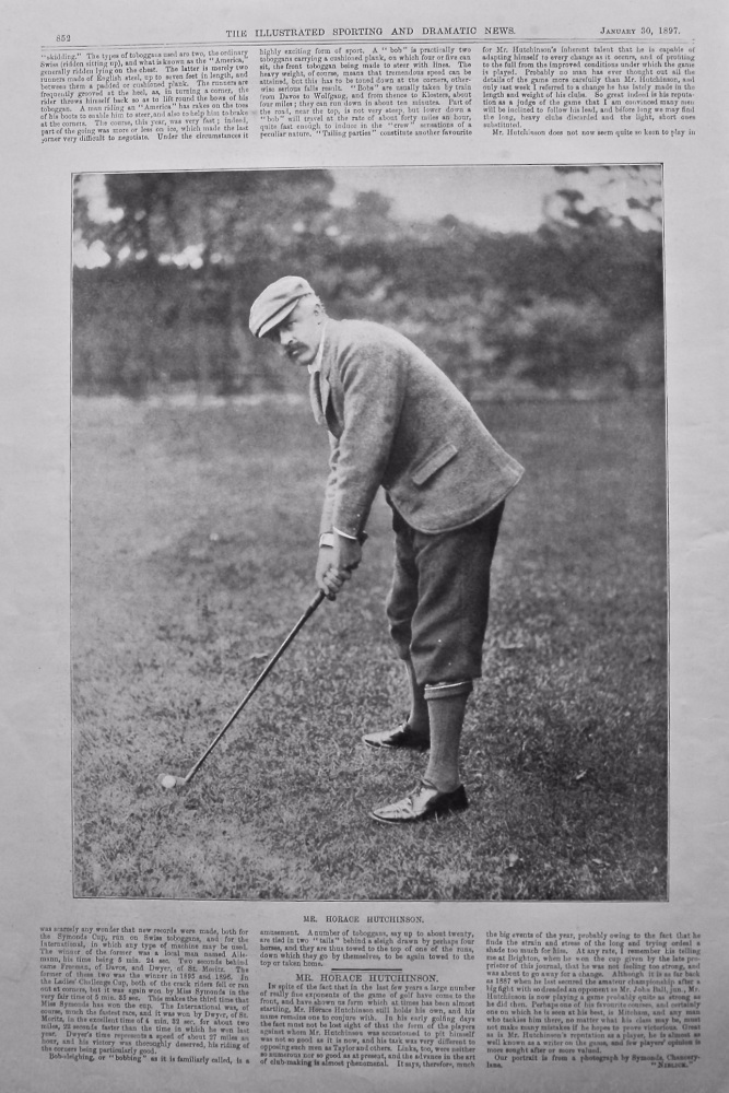 Mr. Horace Hutchinson. (Golfer) 1897.