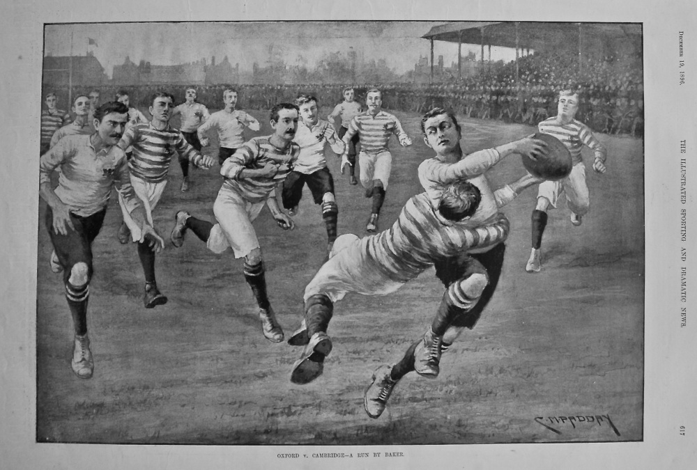 Oxford v. Cambridge - A Run by Baker. (Rugby) 1896.