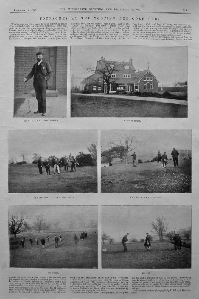 Foursomes at the Tooting Bec Golf Club. 1896.