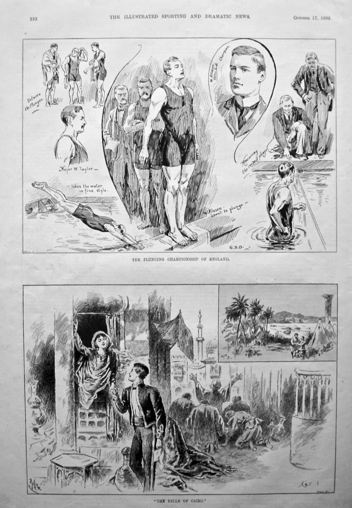 """The Plunging Championship of England. &  """"The Belle of Cairo.""""  1896."""