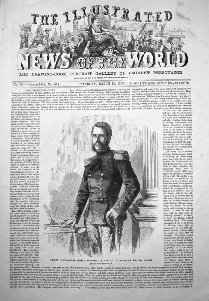 The Illustrated News of the World,  March 12th, 1859.