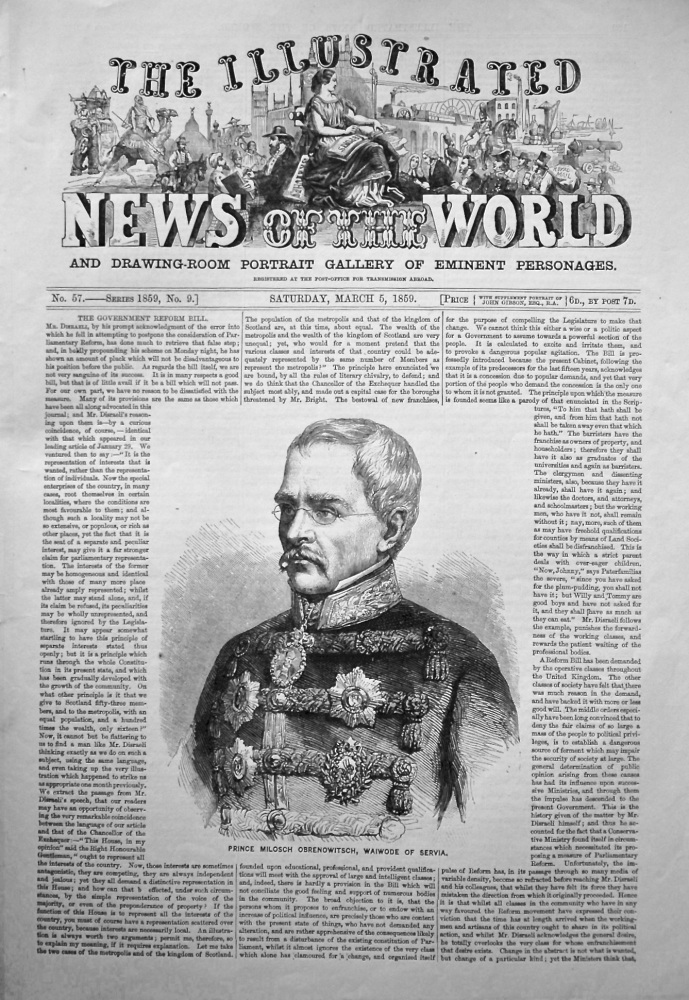 The Illustrated News of the World,  March 5th, 1859.