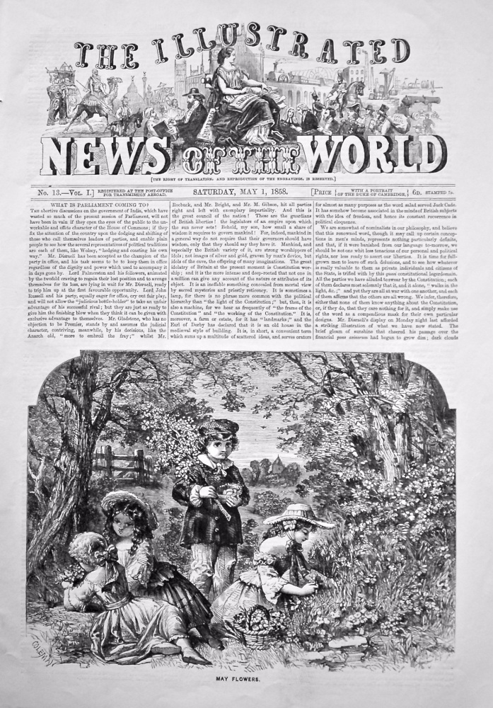 The Illustrated News of the World,  May 1st, 1858.