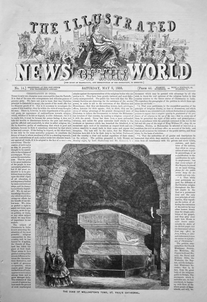 The Illustrated News of the World,  May 8th, 1858.