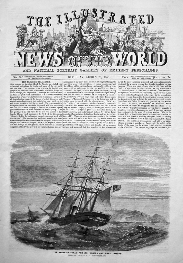 The Illustrated News of the World, August 28th, 1858.