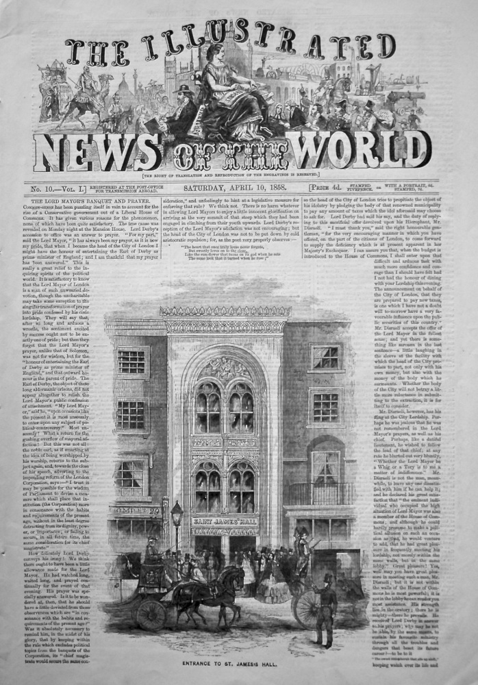 The Illustrated News of the World, April 10th, 1858.
