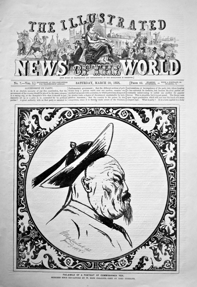 The Illustrated News of the World,  March 20th, 1858.