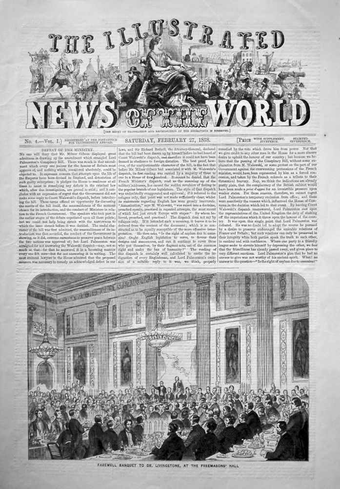 The Illustrated News of the World, February 27th, 1858.