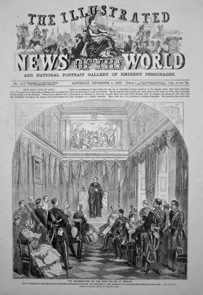 The Illustrated News of the World, December 4th, 1858.