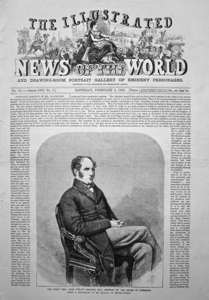 The Illustrated News of the World, February 5th, 1859.
