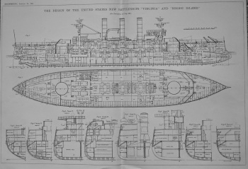 """Design of the United States Battleships """"Virginia"""" and """"Rhode Island.""""  1901."""