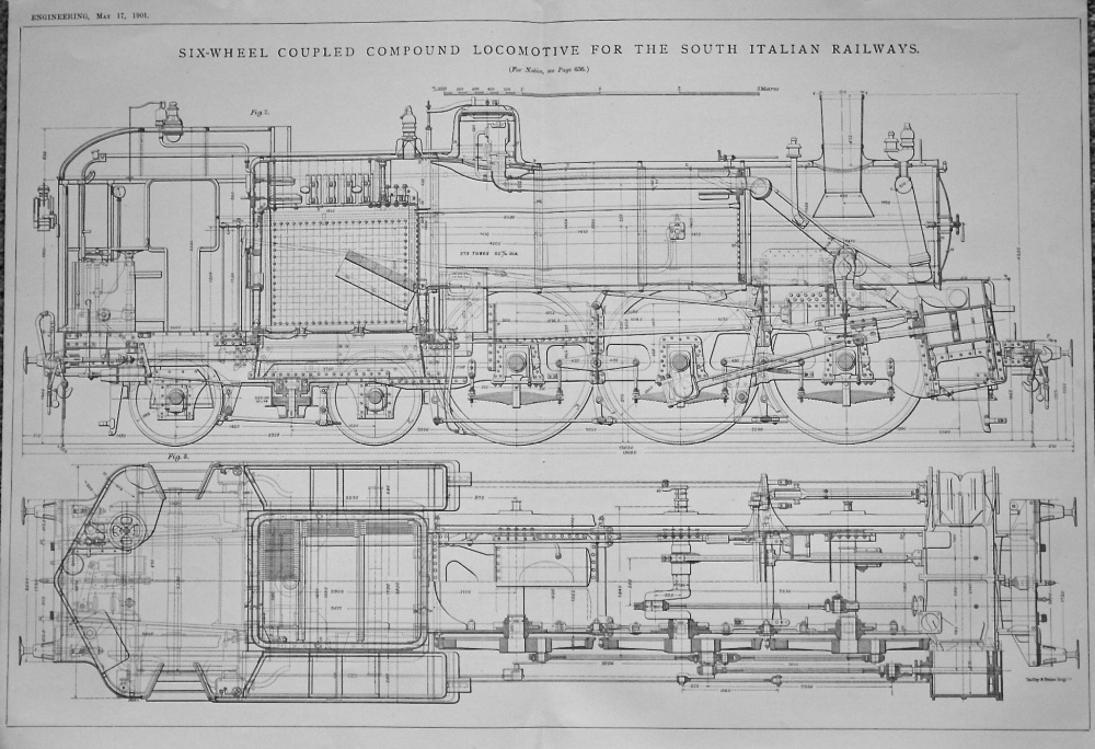 Six-Wheel Coupled Compound Locomotive for the South Italian Railways. 1901.