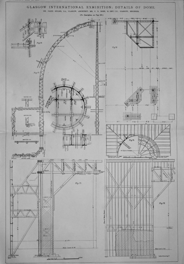 Glasgow International Exhibition ; Details of Dome. 1901.