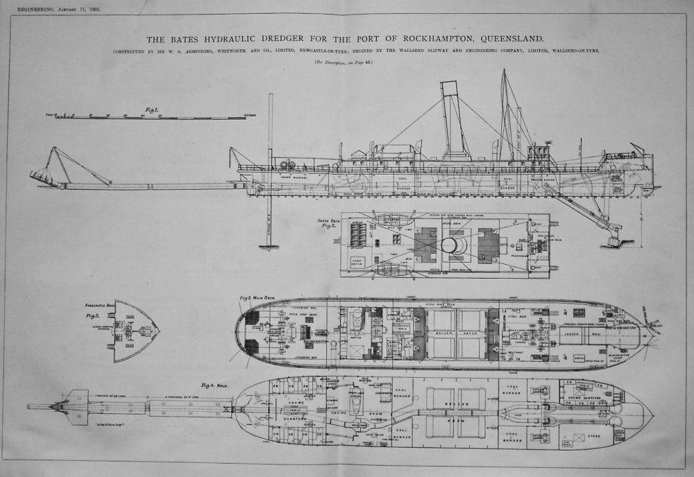 The Bates Hydraulic Dredger for the Port of Rockhampton, Queensland.  1901.